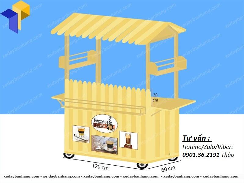 xe gỗ bán cà phê