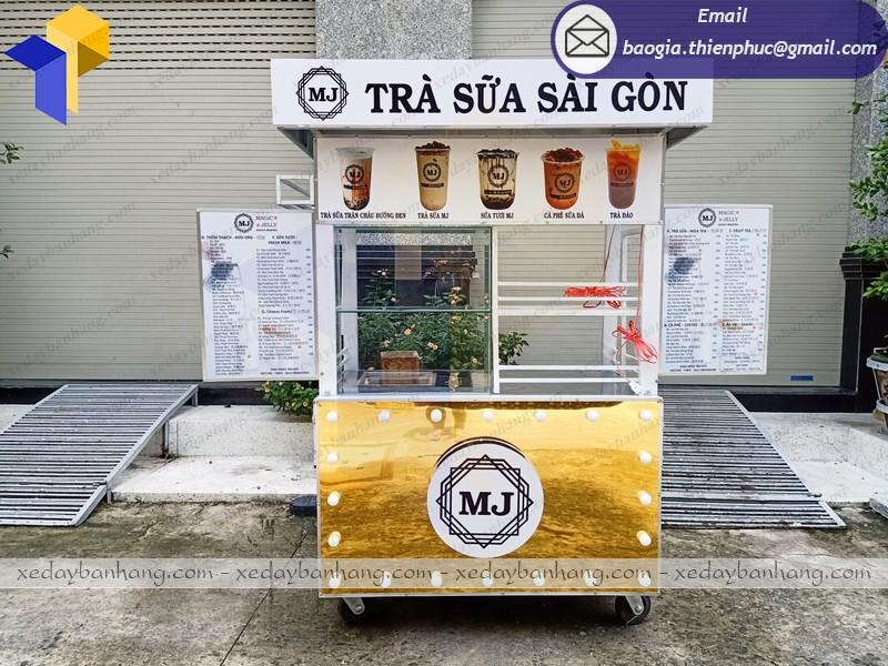 xe bán trà sữa ốp alu vàng bóng